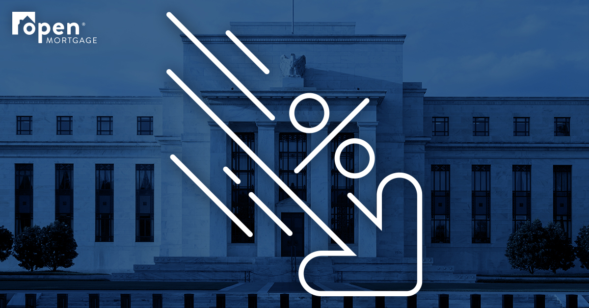 Fed building with a down percentage arrow icon